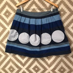 Boden Blue Patchwork Cotton A Line Skirt!